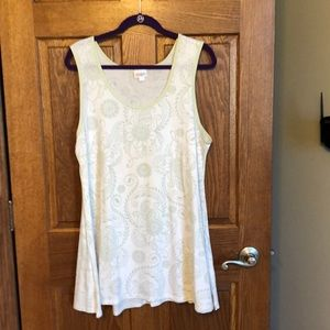 Lularoe Pale Green/White Boho Floral Perfect Tank